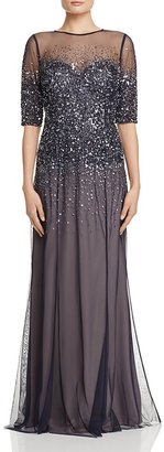 Adrianna Papell Sequin-Bodice Gown