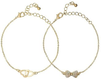 Candies Candie's ® gold tone simulated crystal bow & interlocking heart bracelet set