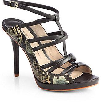 Derek Lam Jims Snakeskin & Leather Sandals