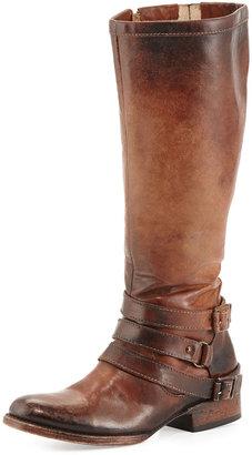 Freebird Irish Triple-Buckle Distressed Knee Boot, Cognac