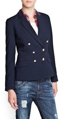 MANGO Velvet appliqué blazer