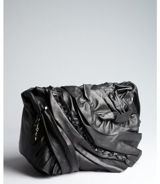 RED Valentino black leather pleated and ruffled crossbody bag