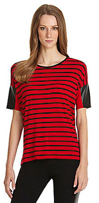 Vince Camuto TWO by Faux-Leather-Sleeve Striped Tee