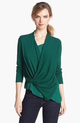 Vince Camuto Mixed Media Wrap Top (Online Exclusive)