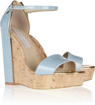 Stella McCartney Faux patent-leather and cork wedge sandals