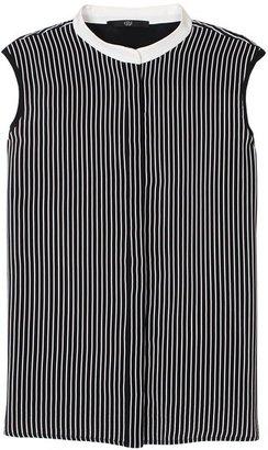 Tibi Stripe Silk Sleeveless Top
