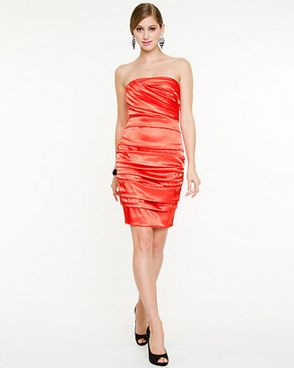 Le Château Foil Satin Strapless Dress