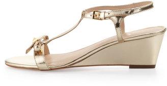 Kate Spade Donna Metallic T-Strap Wedge Sandal, Mushroom