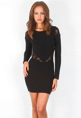 Torn By Ronny Kobo Holly Lace Cut Out Dress in Black