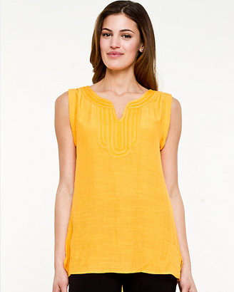 Le Château Mesh & Woven Sleeveless Top