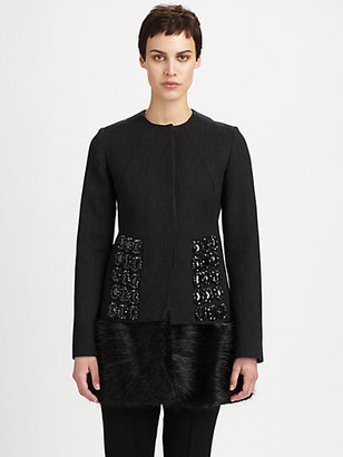 Marni Fur-Trimmed Jeweled Coat