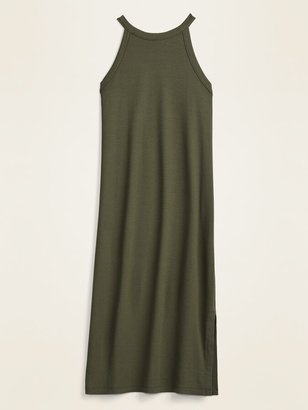 Old Navy Fitted High-Neck Rib-Knit Sleeveless Midi Dress for Women