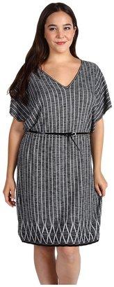 Klein Plus Anne Plus Size S/S Flutter Sleeve V-Neck Dress (Black/Sugar) - Apparel