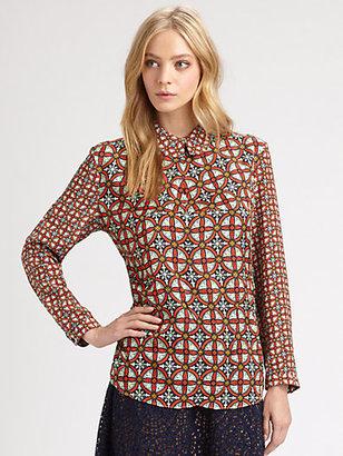 Carven Graphic Silk-Trim Shirt