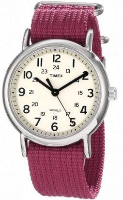 "Timex Unisex T2N652 ""Weekender"" Fuchsia Nylon Strap Watch $44.95 thestylecure.com"
