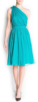 MANGO Asymmetric silk dress