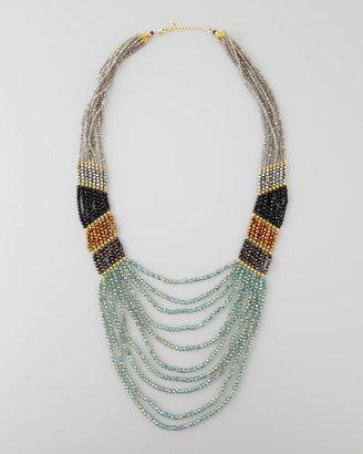 Nakamol Long Multi-Strand Beaded Necklace, Green/Black/Bronze