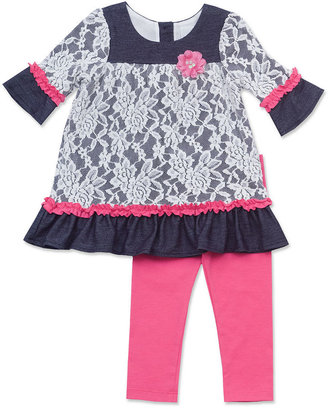 Rare Editions Baby Set, Baby Girls 2-Piece Knit-Denim Lace Top and Leggings