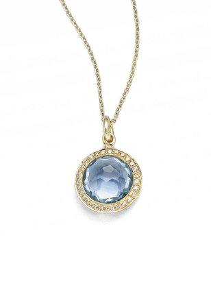 Ippolita Lollipop Small 18K Yellow Gold, Blue Topaz & Diamond Pendant Necklace