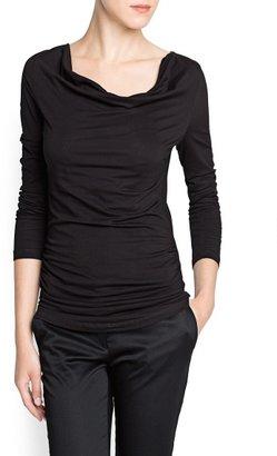 MANGO Ruched cotton t-shirt