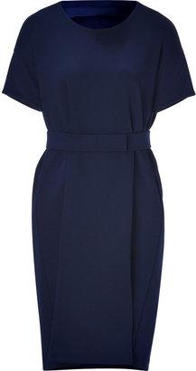 Jil Sander Navy Cotton-Blend Cocoon Dress