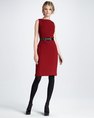 Milly Belted Sheath Dress, Burgundy