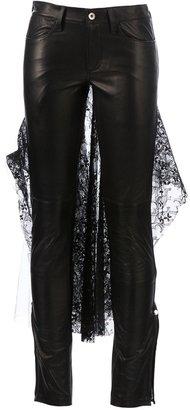 Miharayasuhiro lace detail leather trouser