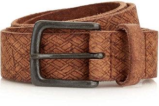 Topman Tan Embossed Leather Belt