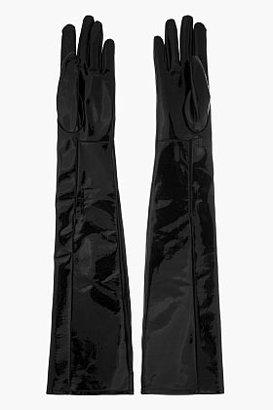 Maison Martin Margiela Black patent leather surgeon's Gloves