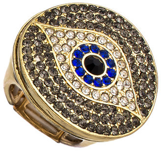 Blu Bijoux Gold and Crystal Evil Eye Cocktail Ring