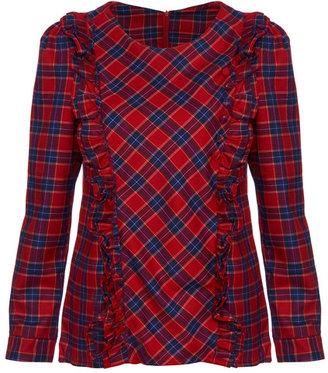 Red Plaid Long-sleeved Shirt