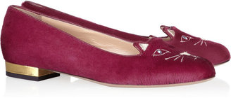 Charlotte Olympia Kitty embroidered calf hair flats