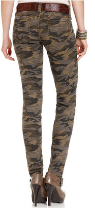 Dollhouse Juniors Jeans, Skinny Belted Camouflage-Print