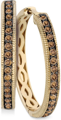 LeVian Le Vian Chocolate Diamond Hoop Earrings in 14k Yellow Gold (5/8 ct. t.w.)