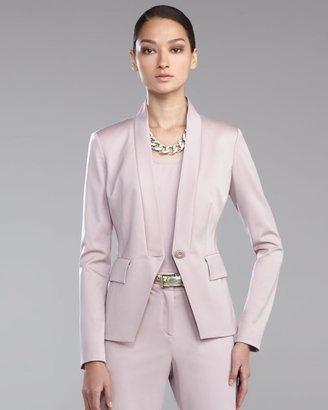 St. John Venetian Wool Stand-Collar Jacket, Orchid
