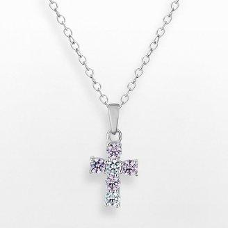 Sunstone 925 Sterling Silver Cross Pendant - Made with Swarovski Cubic Zirconia