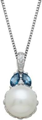 Lord & Taylor Sterling Silver, Freshwater Pearl, Blue Topaz & White Topaz Pendant Necklace