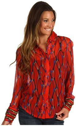 Winter Kate Silk Crinkle Chiffon Jacket (Red Veins) - Apparel
