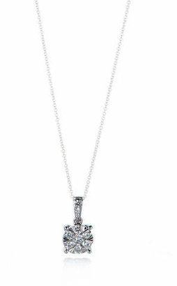 Effy 14K White Gold Cluster Pendant Chain-Link Necklace with 0.46 TCW Diamonds