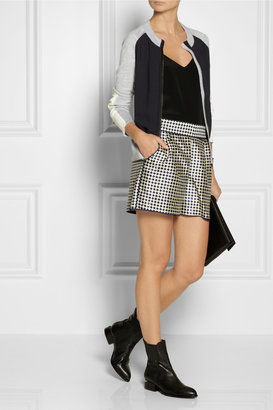 Reed Krakoff Color-block crepe and fine-knit cardigan