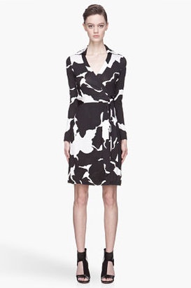 Diane von Furstenberg Black and white silk New Jeanne wrap dress