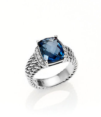 David Yurman Hampton Blue Topaz, Diamond & Sterling Silver Ring