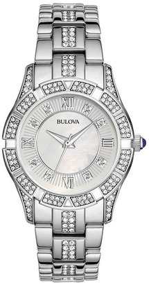 Bulova Womens Crystal-Accent Silver-Tone Bracelet Watch 96L116 $262.50 thestylecure.com