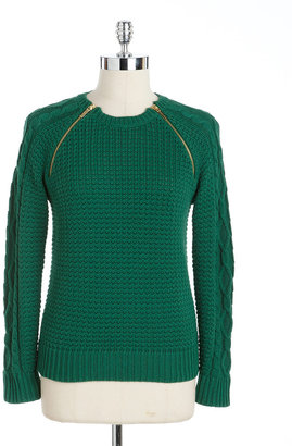 MICHAEL Michael Kors Zippered Cable Knit Sweater