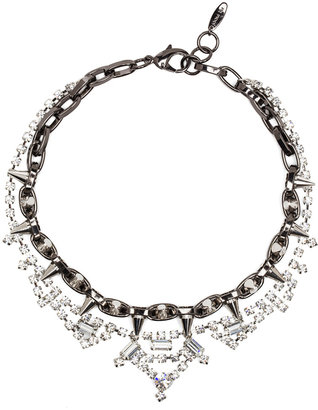 JOOMI LIM Crystal and Spike Necklace in Hematite & Silver