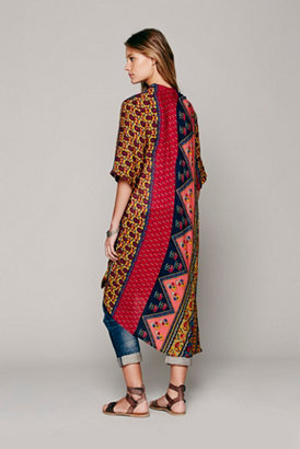 Free People Novella Royale Short Sleeve Printed Maxi Duster