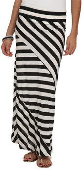 Wet Seal WetSeal Pieced Stripe Maxi Skirt Black/white