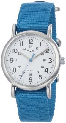 "Timex Women's T2P2279J ""Weekender"" Silver-Tone Watch with Blue Nylon Band $27.95 thestylecure.com"