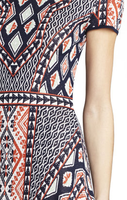 BCBGMAXAZRIA Kayla Peruvian Patchwork Jacquard Dress