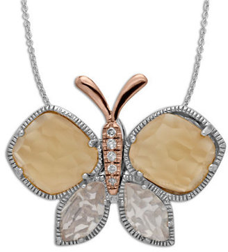 Lord & Taylor Sterling Silver Pink Moon Stone Rose Quartz & Diamond Butterfly Pendant Necklace